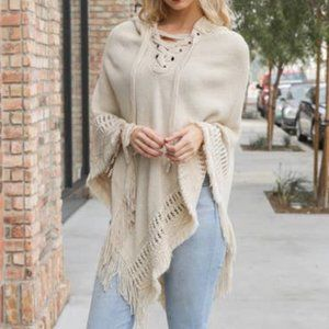 Hooded Lace Up Knit Poncho - Ivory